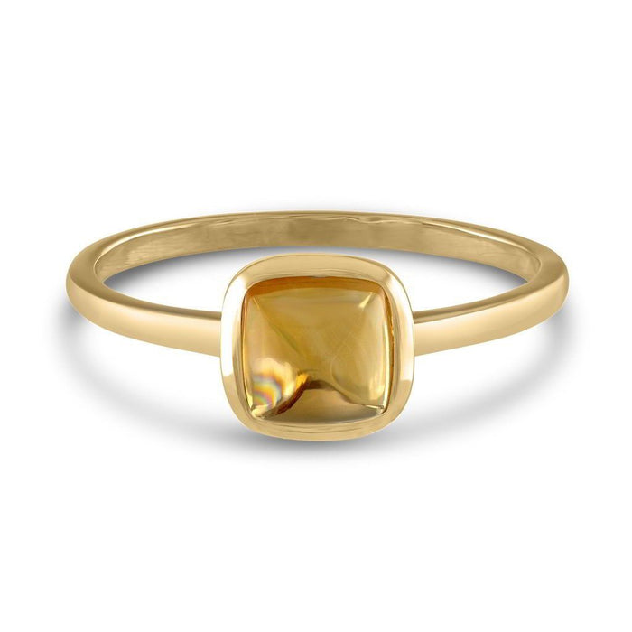 Square Cabochon Citrine 14k Yellow Gold Stackable Ring