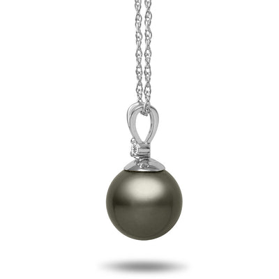 8-9mm Natural Color Tahitian Pearl and Diamond 14k White Gold Pendant Necklace Side View