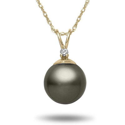 8-9mm Natural Color Tahitian Pearl and Diamond 14k Yellow Gold Pendant Necklace