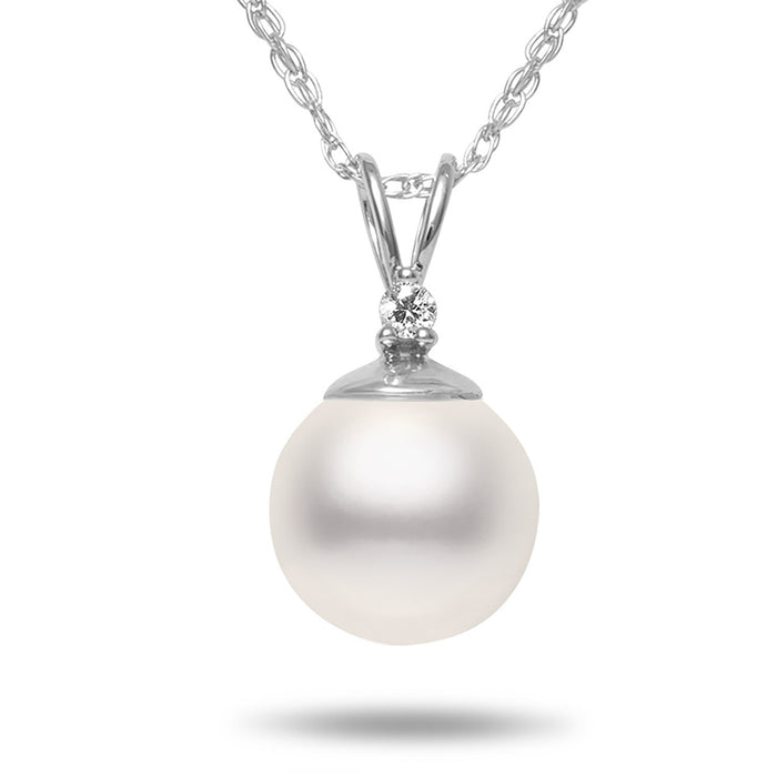 8-8.5mm AA Akoya Cultured Pearl and Diamond 14k White Gold Pendant