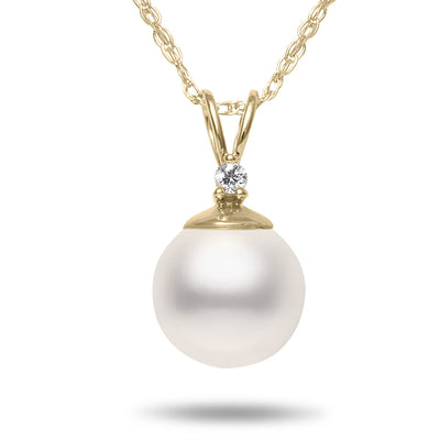 8-8.5mm AA Akoya Cultured Pearl and Diamond 14k Yellow Gold Pendant Necklace