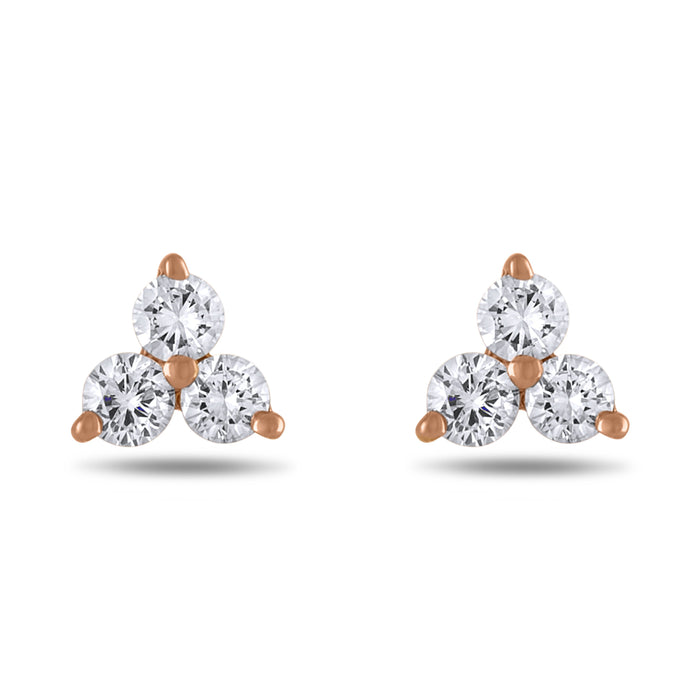 14k Rose Gold Triple Diamond Stud Earrings, .15 cttw