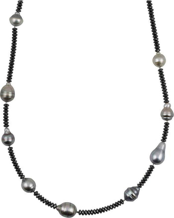 9-11mm Baroque Tahitian Pearl and Hematite Necklace