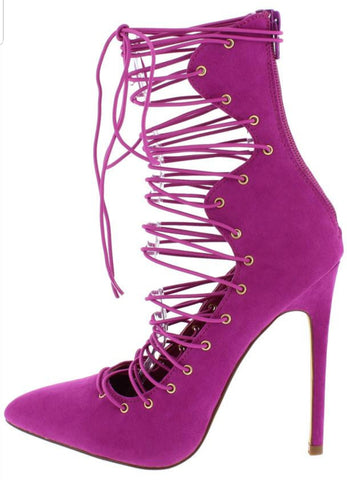 Fuschia Caged Bootie