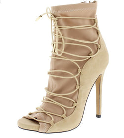 Nude Lace Up Heel
