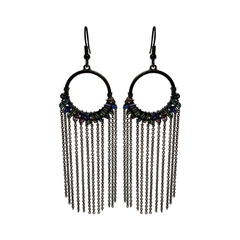 Gunmetal Drape Earrings
