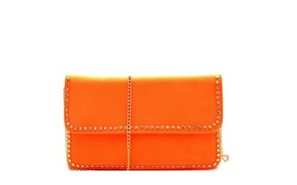 Studded Accent Suede Clutch