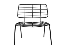 Mesh Lounge Stol, Sort, Metal