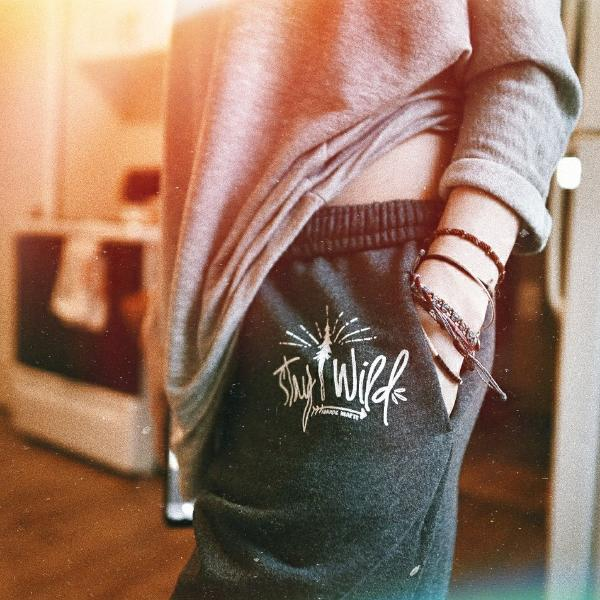 stay wild pine tree design sweatpants. oversized and comfy.