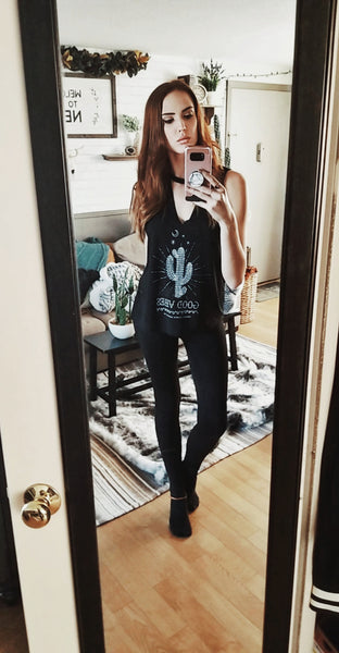 nomadic hearts clothing co good vibes cut neck cactus tank top