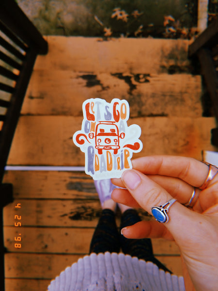 nomadic hearts clothing co let's go on a road trip psychedelic vanlife sticker