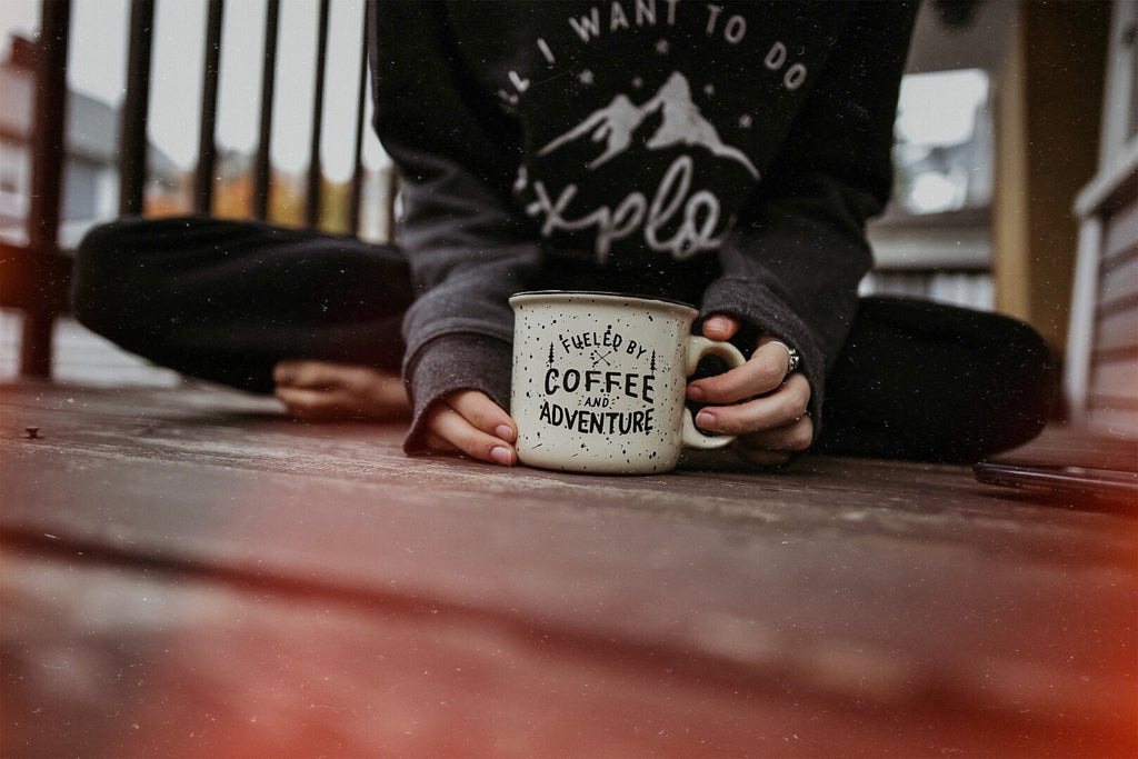 fueled by coffee and adventure mug ceramic camp arrows pine tree nomadic hearts clothing co.