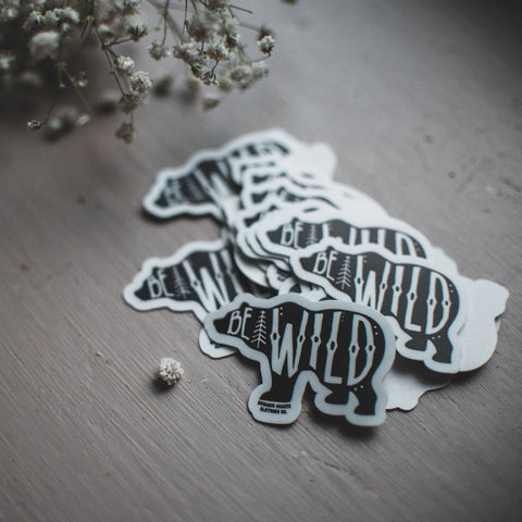 nomadic hearts be wild bear vinyl sticker