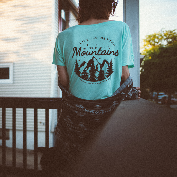 nomadic hearts clothing co life is better in the mountains tee. photos by allison washko