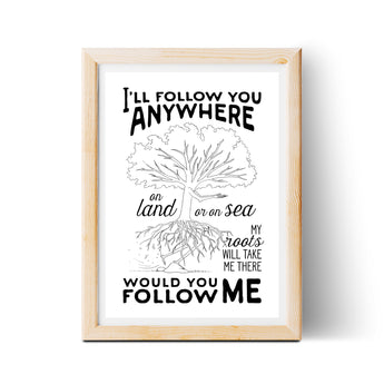 I'll Follow You 8x10 Lyric Print