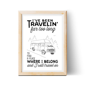 Travelin' Song 8x10 Lyric Print