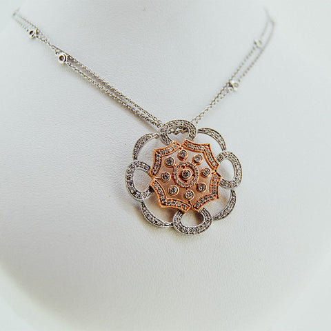 Diamonds White And Rose Gold Floral Pendant