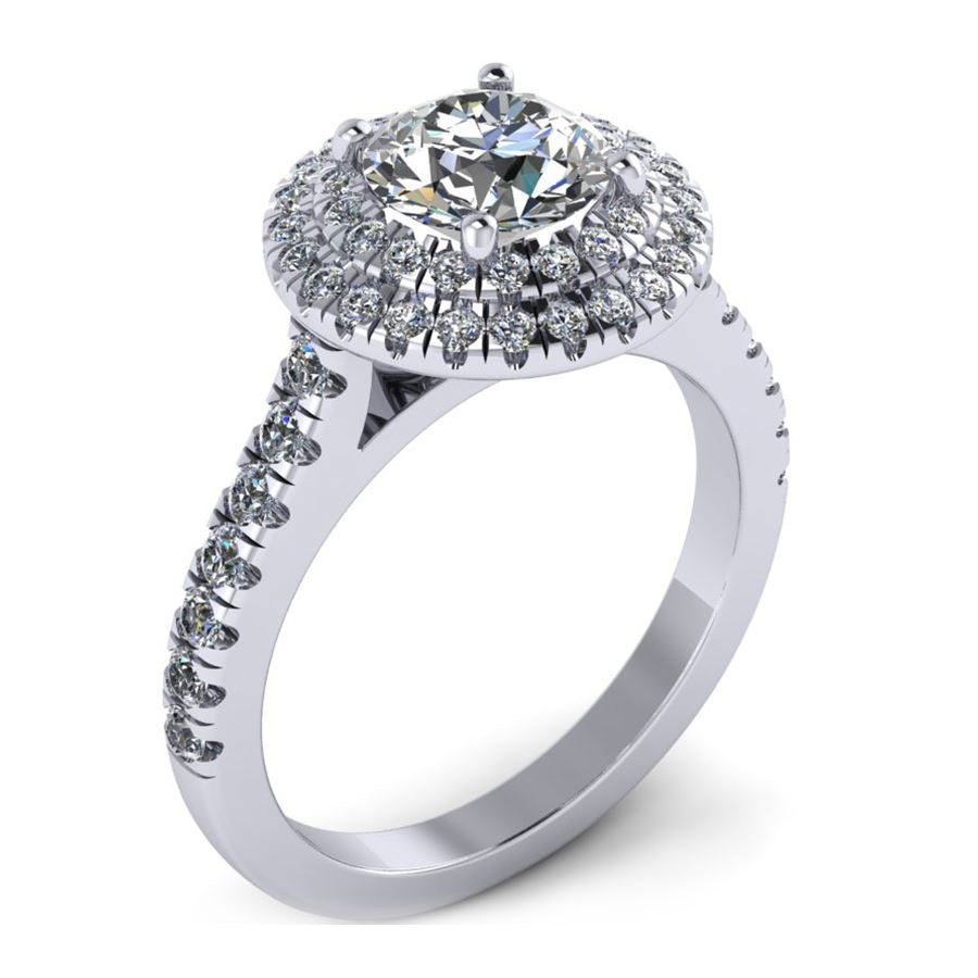 2 rows round halo with slit prong engagement ring from GQJ Boston