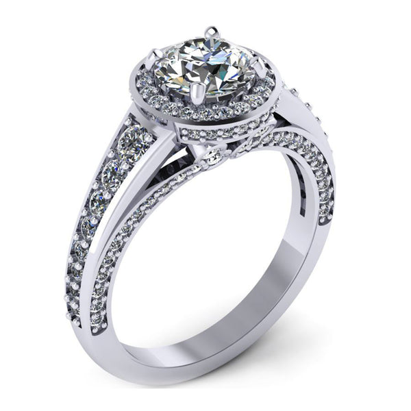 3 rows halo with round outline engagement ring from GQJ Boston