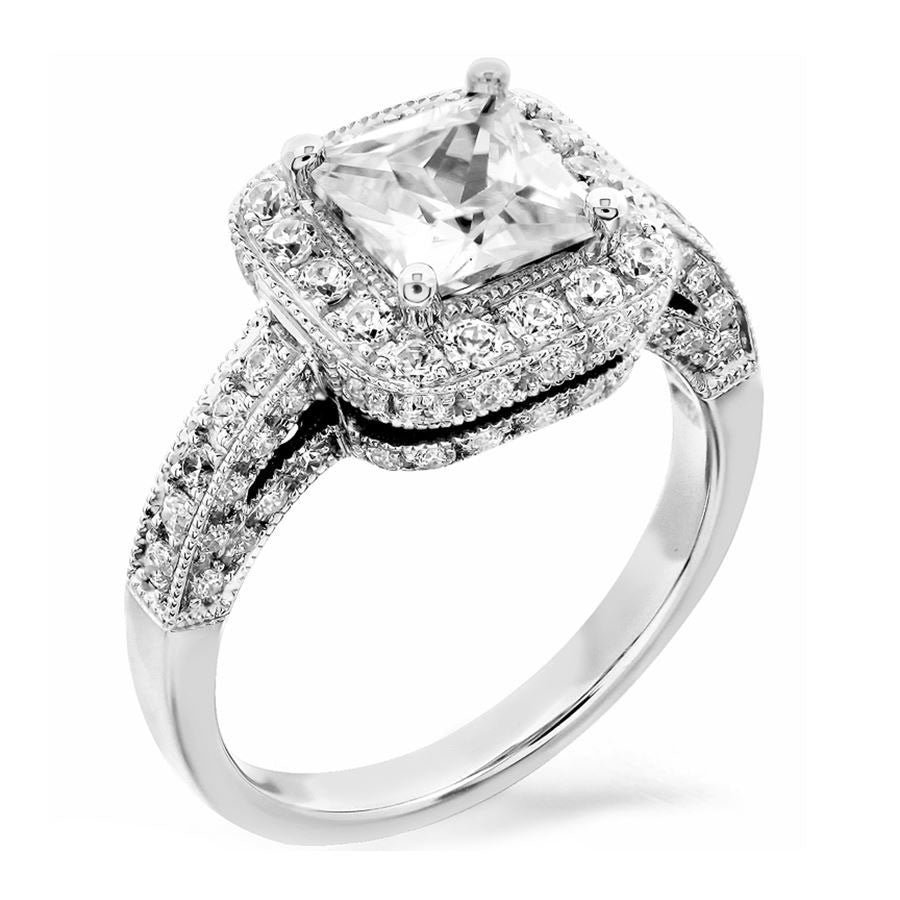 3 rows halo with square outline engagement ring from GQJ Boston