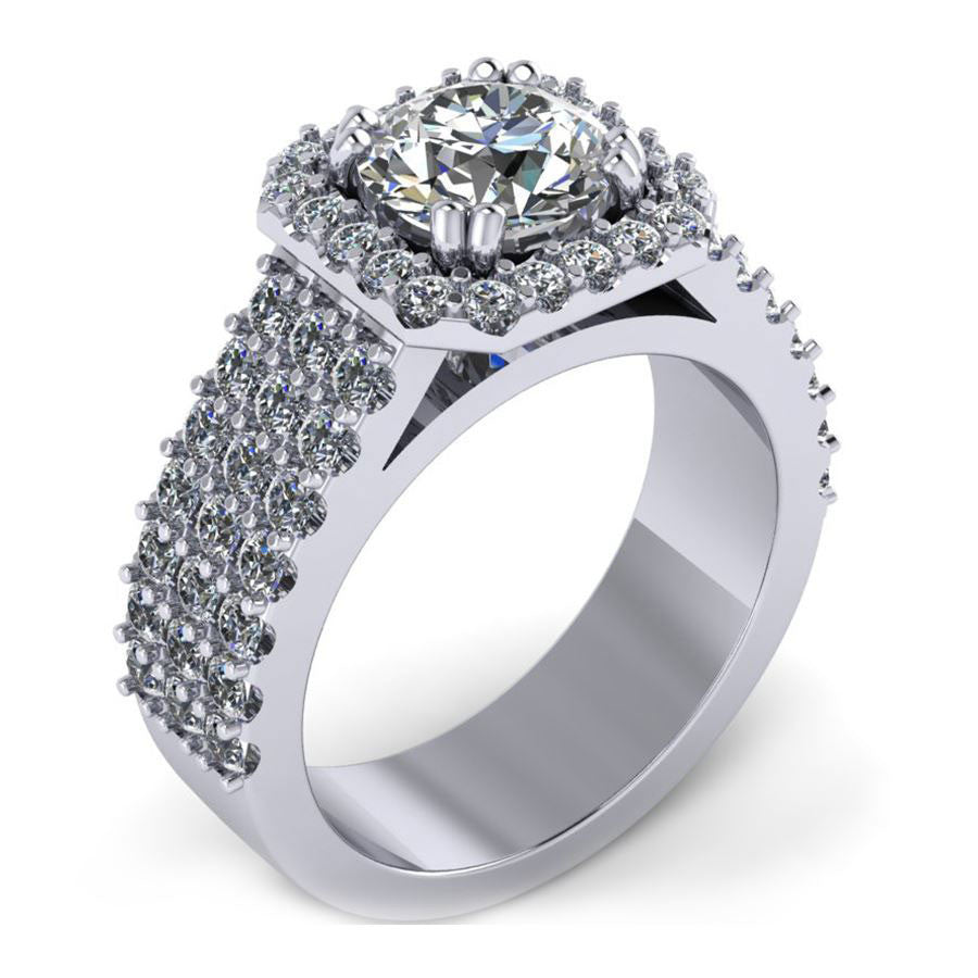 3 rows halo with square corner engagement ring from GQJ Boston