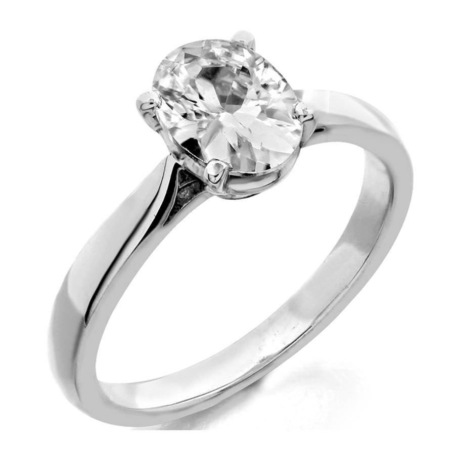 4 prong oval center solitaire engagement ring from GQJ Boston