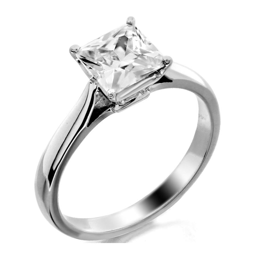4 prong princess cut solitaire engagement ring from GQJ Boston