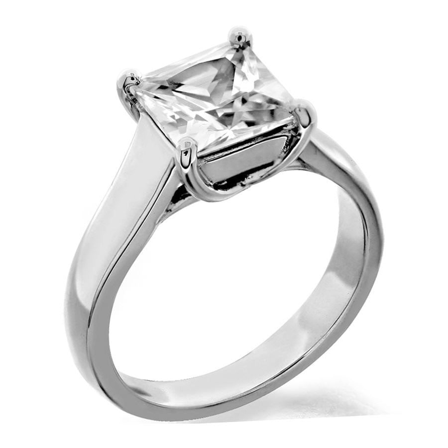 4 prong princess cut trellis solitaire engagement ring from GQJ Boston