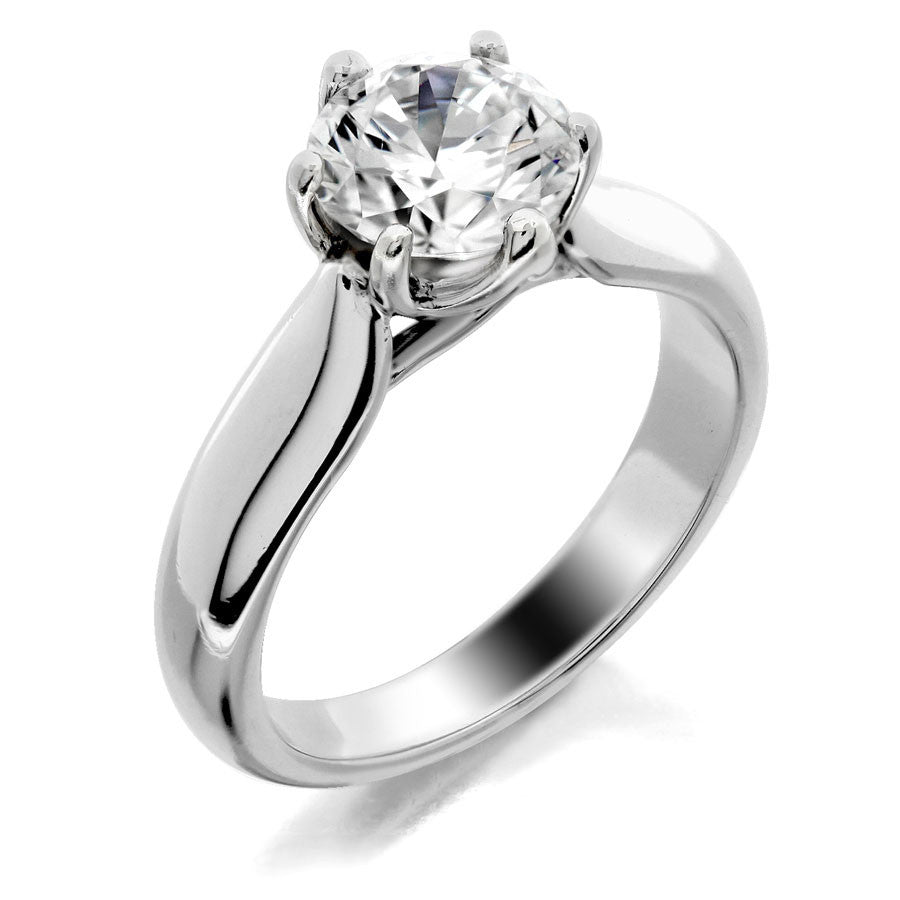 Trellis with 6 prong head solitaire engagement ring from GQJ Boston