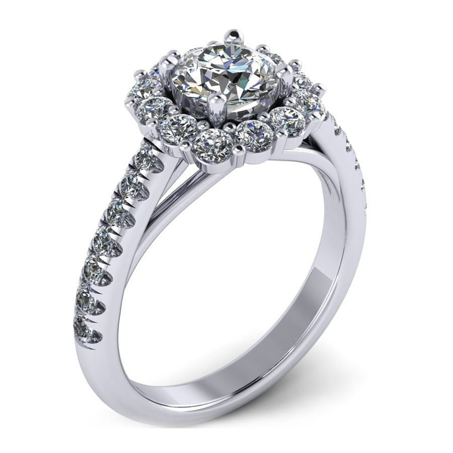 round halo engagement ring with flush fit cushion from GQJ jewelry store Boston