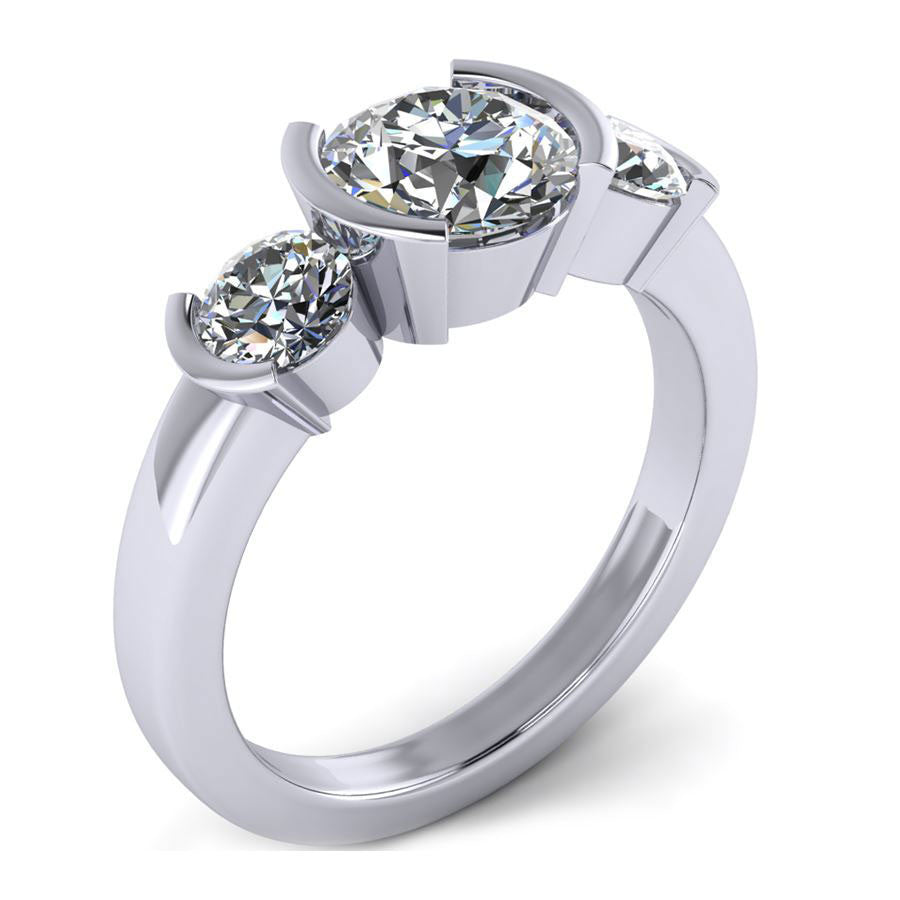 three stone bezel set engagement ring from GQJ Boston
