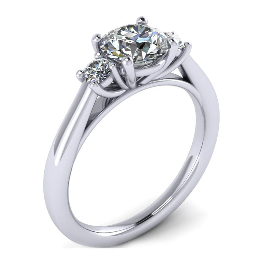 three stone with oval center stone and round side stones engagement ring from GQJ Boston