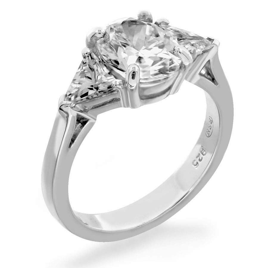 three stone with oval center and trilliant sides engagement ring from GQJ Boston
