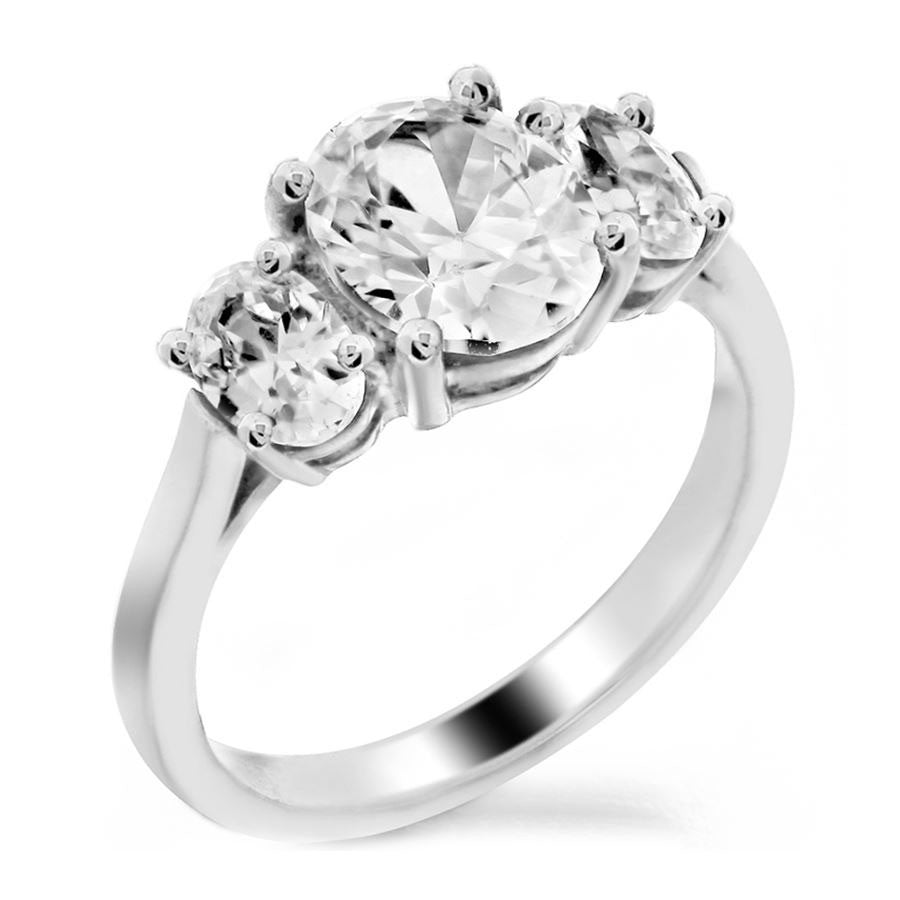 three stone oval shaped engagement ring from GQJ Boston