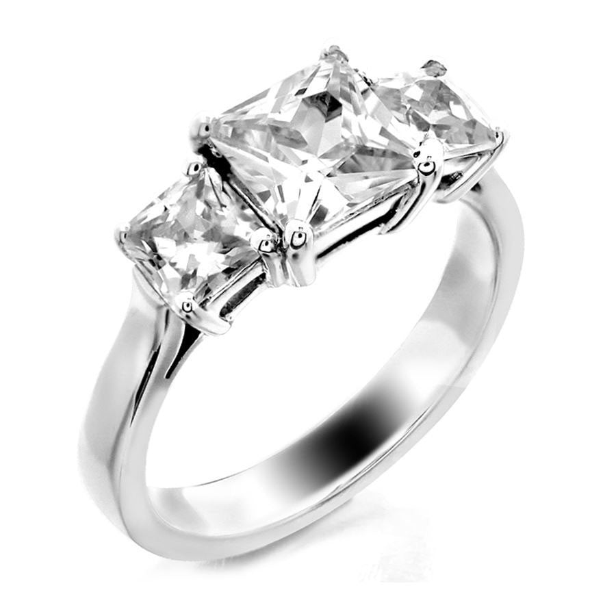 three stone princess cut engagement ring from GQJ Boston