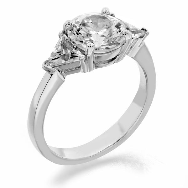 three stone with round center and trilliant sides engagement ring from GQJ Boston