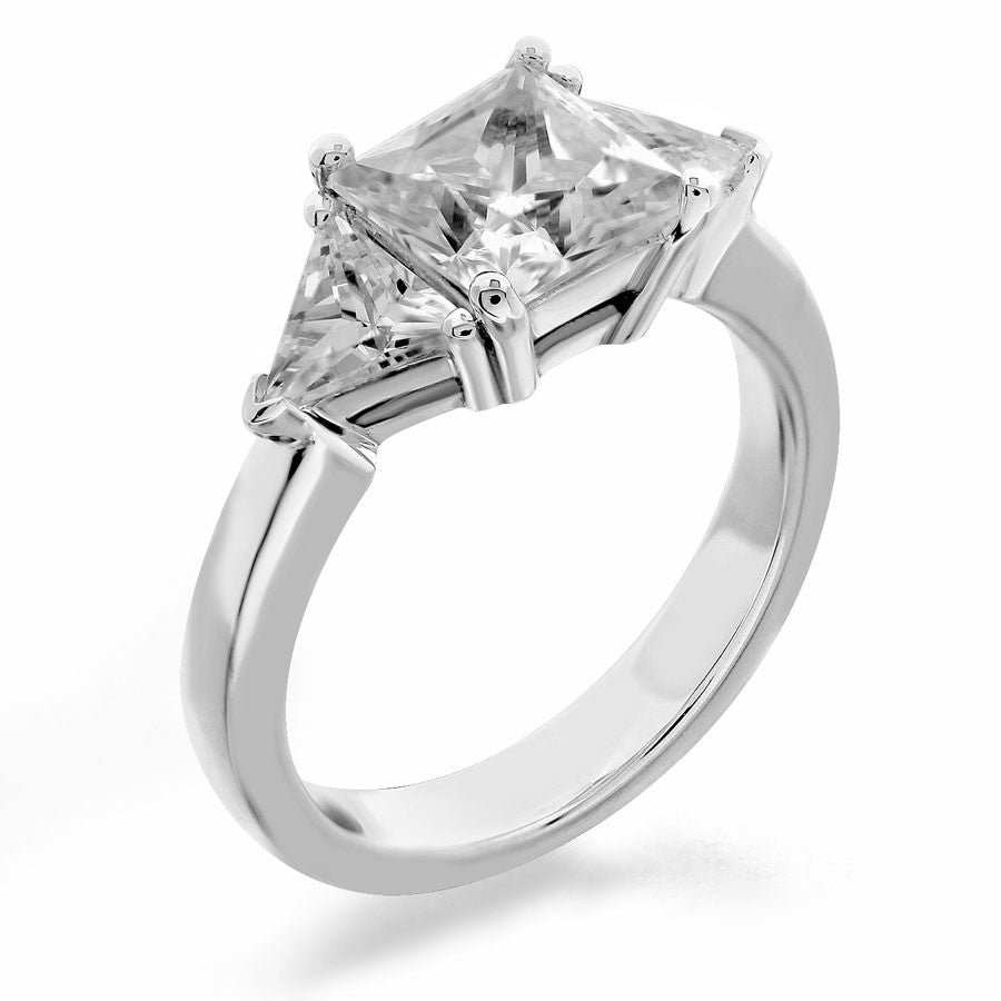 three stone with square center and trilliant sides engagement ring from GQJ Boston