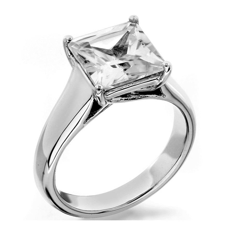 4 prong princess cut trellis with flush fit shank solitaire engagement ring from GQJ Boston