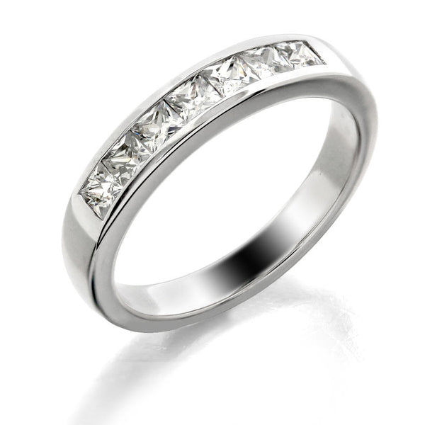 Princess cut channel set wedding band from GoldQuestJewelers jewelry store in Boston