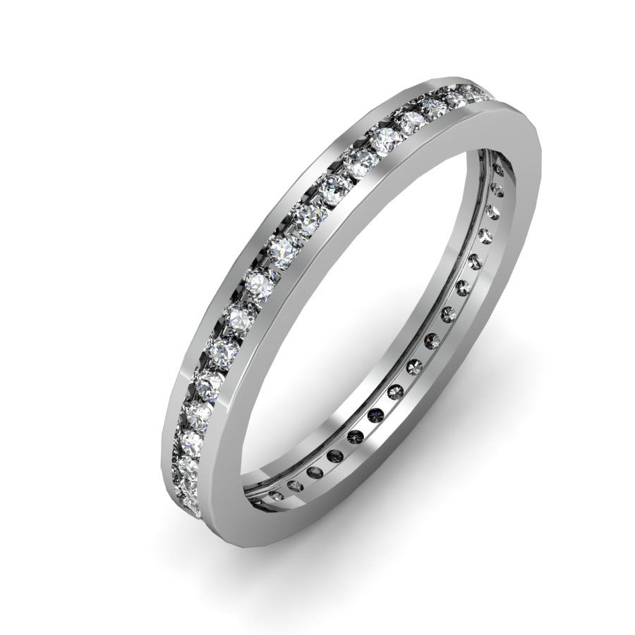GoldQuest Jewelers in Boston round diamond channel set eternity wedding band