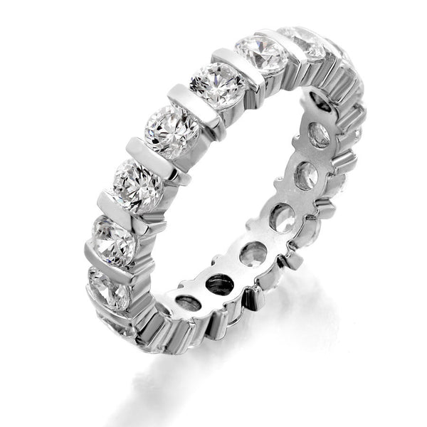 GoldQuest Jewelers in Boston Diamond bar set eternity wedding band