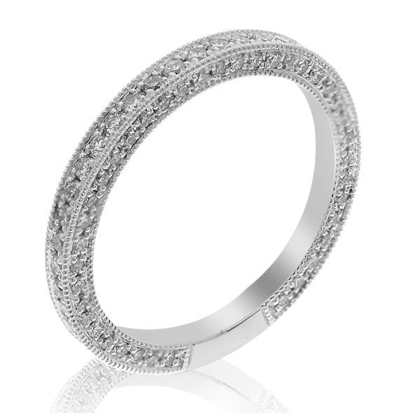 GoldQuest Jewelers in Boston diamond on the side pave set eternity wedding band