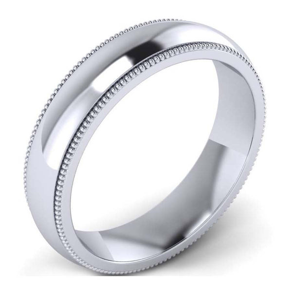 GoldQuest Jewelers in Boston classic platinum 5 mm wedding band with milgrain
