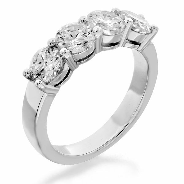 GoldQuest Jewelers in Boston shared prong 4 stones diamond wedding band