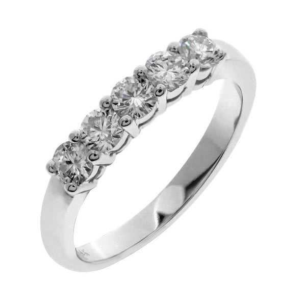 GoldQuest Jewelers in Boston shared prong 5 diamond stone wedding band