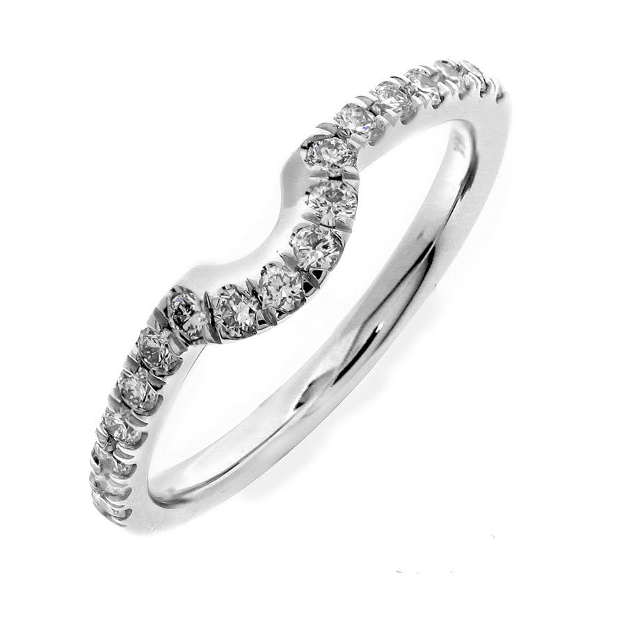 GoldQuest Jewelers in Boston shared prong set curved matching wedding band
