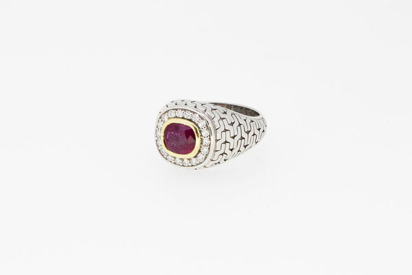 Two Tone Diamonds Man's Ring With Ruby Center