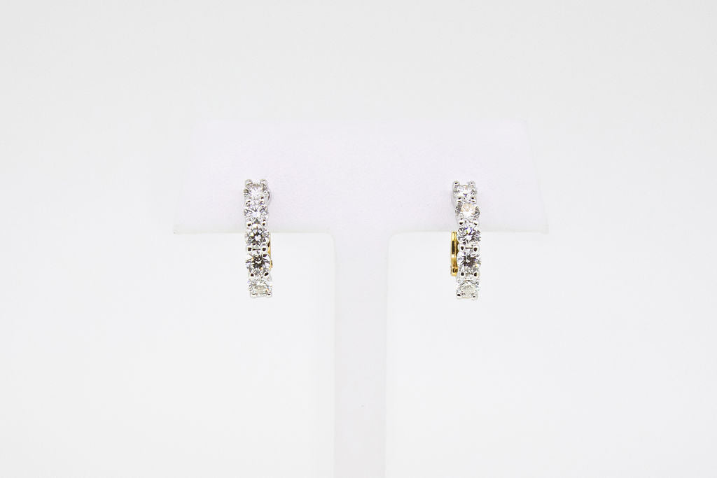 Two Tone Omega Clips Diamond Earrings