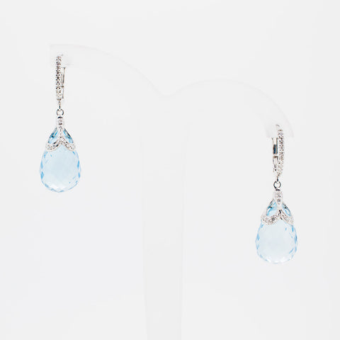 White gold bleu topaz drop earrings from GoldQuestJewelers jewelry store near Boston MA