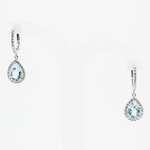 White gold bleu topaz small drop earrings from GoldQuestJewelers jewelry store near Boston MA